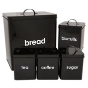 CostMad 5 Piece Kitchen Storage Includes Bread Bin Biscuit Tea Coffee Sugar Caddy Tins Containers Canister Storage Jars Pots Set