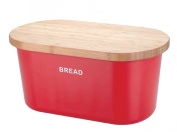 Zeller 25350 Bread Box 39x23x18.5 cm Red Melamine/Bamboo