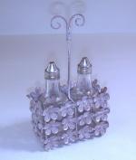 Marvells Glass Chrome Oil and Vinegar Bottle Cruet Condiment Set Shaker in Metal Holder