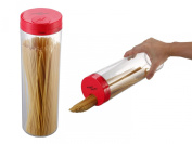 HomeStore Spaghetti Pasta Canister with portion control dispenser - Sleek and innovative, - Transparent with Red Lid