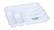 High Grade 7 Compartment Plastic Cutlery Tray in Ice White