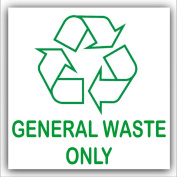 General Waste Only-Recycling Bin Adhesive Sticker-Recycle Logo Sign-Environment Label