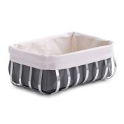 Zeller 27319 33 x 24 x 13 cm Bread Basket with Bag Chrome/ Canvas