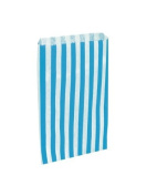 75 x Sky Blue & White Candy Stripe / Striped Paper Sweet Party Bags - 13cm x 18cm