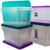 10x 50 Litre CLEAR PLASTIC STACKER BOX Large Storage Box With Lids