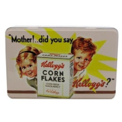 Vintage Kelloggs Rectangular Storage Tin White Corn Flakes Design