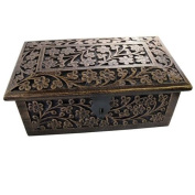 Harnd Made Indian Fully Carved Storage Box with Velvet Lining