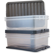 5x 32 Litre CLEAR PLASTIC STACKER BOX Large Storage Box With Lids