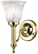 Elstead Lighting BATH/CARROLL1 PB Polished Brass Carroll1 One Light Modern Bathroom Wall Sconce With Glass