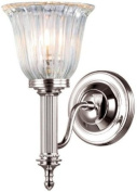 Elstead Lighting BATH/CARROLL1 PN Polished Nickel Carroll1 One Light Modern Bathroom Wall Sconce With Glass