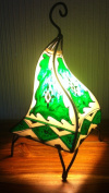 Painted Moroccan Henna Lamp- Square-GREEN 38CM