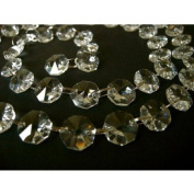 (G) 1mt Strand with 30% Lead 14mm CRYSTALS with Brass rings READY FOR CHANDELIER, Ceiling light, Tree, Window Display ..