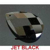 Jet Black 51mm x 33mm Almond or Pear Shaped 30% Lead Crystals for Chandelier, Ceiling light, Feng shui, Christmas Tree , Window display, Wedding Display, Curtains .. etc..