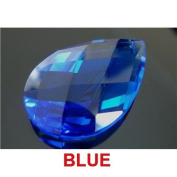 BLUE 51mm x 33mm Almond or Pear Shaped 30% Lead Crystals for Chandelier, Ceiling light, Feng shui, Christmas Tree , Window display, Wedding Display, Curtains .. etc..