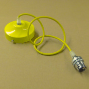 005 Yellow 1mt Cable Chandelier Yellow Finished Ceiling Rose, Cable & lamp Holder With Shade Ring, Pendant Set for lampshade, lampshades ..