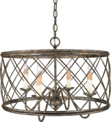 Dury 4 Light Pendant in Century Silver Leaf