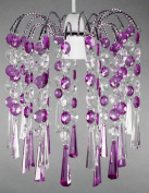Acrylic Chiselled Droplet Silver Frame Pendant Light Fitting- Clear/Purple
