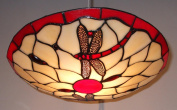 Lighting Web Co 36cm Glass Dragonfly Beige Background, Red