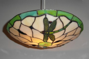 Lighting Web Co 36cm Glass Dragonfly Beige Background, Green