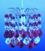 32 Acrylic Crystal Droplets Claret Ceiling Light Shade with Ploished Chrome Frame - 26cm
