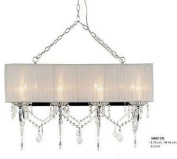 Elegant baroque pendant light grey in colour with crystal deco, diameter 78cm, height 46cm, 8-burner electric SM013G ligh