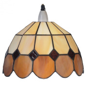 Lighting Web Co 25 cm Glass Bistro Shade, Beige/ Brown