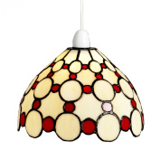 Lighting Web Co Glass Easy Fit Bistro Dome with Small Red Circles Pendant, Beige