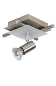 Lucide Quadro 12914/21/67 Ceiling Light with Directional Spotlights 1 x GU10 50 W Matt Chrome / Glass