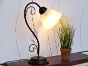 Country Style Table Light Matte Black / Rice-Stone Glass 7812n