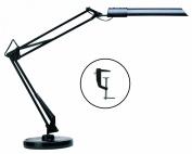 Unilux Swingo Fluorescent Desk Lamp with Flexible Movement Weighted Base/ Desk Clamp Options, 60 cm, Black
