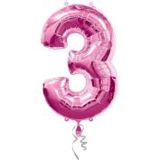 Amscan Super Shape Number 3 Balloon, Pink