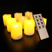 Frostfire Mooncandles - 9 Indoor and Outdoor Votive Candles with Remote Control & Timer