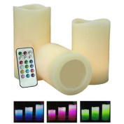 Pack of 3 Colour Changing LED Vanilla Scented Flameless Wax Mood Candles with Timer and Remote Control