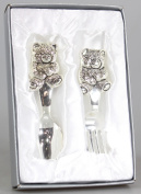 Baby's Silver Plated Teddy 'Fork & Spoon' - Christening Gift Set