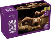 Festive 480 LED Snowing Icicle Lights, Warm White
