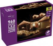 Festive 960 LED Snowing Icicle Lights, Warm White