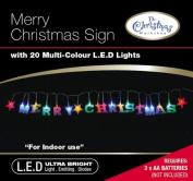 The Benross Christmas Workshop 20 LED Merry Christmas Sign, Multi-Colour