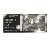 Brite Ideas Festive 40 Bulb Rice Lights with Pearl Bead Decoration