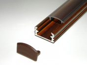 Aluminium Profile for LED Strips / LED Tapes; Wood WENGE Base, CLEAR Cover, Set with Two End Caps; 1m long
