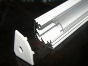 Aluminium Profile for LED Strips; LED Tapes; White Base (Painted), CLEAR Cover, Set with Two End Caps; 1m long