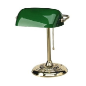 LEDU L557BR Traditional Banker's Lamp, 36cm High, Brass Base with Green Shade