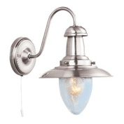 60W Satin Silver Switched Fisherman Wall Light, 5331-1SS