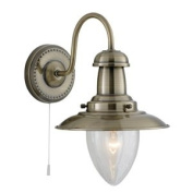 60W Antique Brass Switched Fisherman Wall Light, 5331-1AB
