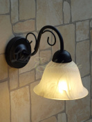 Country Style Wall Light Matte Black / Rice-Stone Glass 7811n