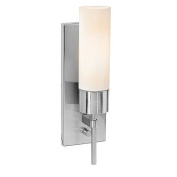 Access Lighting 50562-BS-OPL Aqueous 1 Light Opal Glass Wall Fixture with On-Off Switch - Brushed Steel