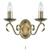 Endon Lighting 2030-2AN - Wall Light - 2 Candle Tubes, Candelabra, Pull Switch - Antique Brass