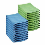 10 Blue & 10 Green Microfibre Genuine Exel Brand Magic Cleaning Cloths. Chemical Free Cleaning. Anti Bacterial Microfiber Cloths for Amazing Smear Free Wiping.
