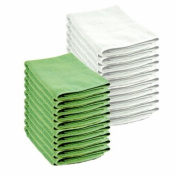 20 Pack of 10 White & 10 Green Microfibre Exel Magic Cleaning Cloths. Chemical Free Cleaning. Anti Bacterial Microfiber Cloths for Amazing Smear Free Wiping.
