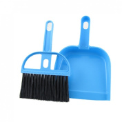 Desktop Keyboard Clean Mini Brush Dust Pan Set Blk Blue