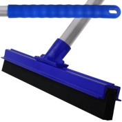 Blue Professional Hard Floor Cleaning Squeegee & Strong Alloy Handle For Tiles, Concrete, Wood And Marble.